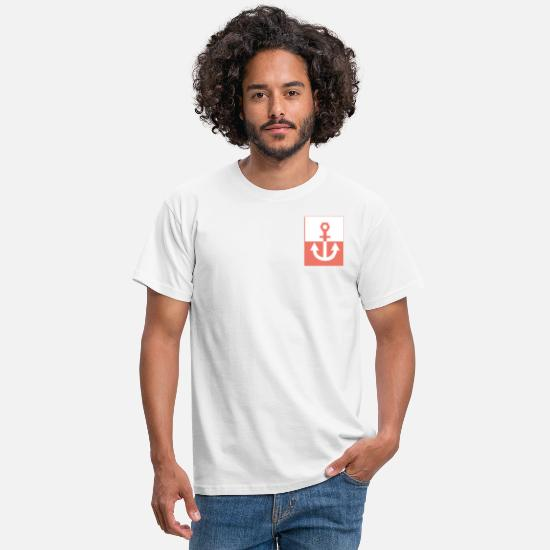 Anker T-shirts - Coral Anchor - Mannen T-shirt wit