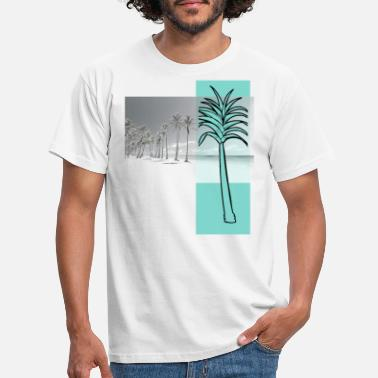 Different Trees on Beach Photo Fusion Graphic Design - Men's T-Shirt