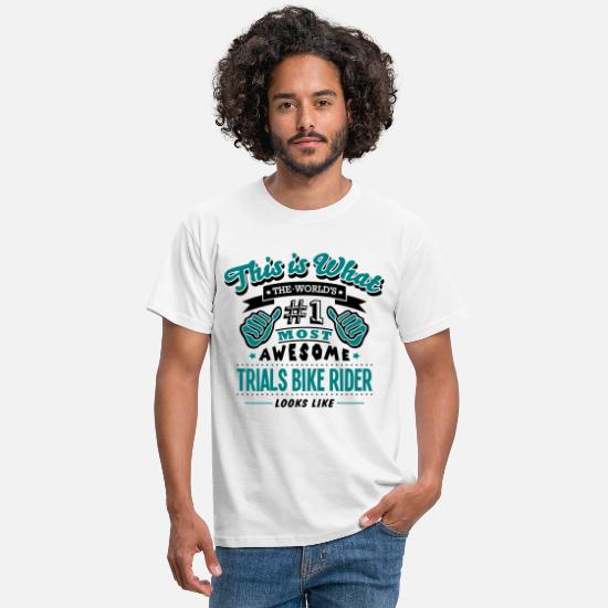 Cycling T-Shirts - trials bike rider world no1 most awesome - Men's T-Shirt white