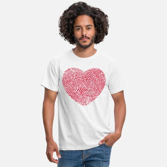 Valentine's Day T-Shirts - Fingerprint heart - Men's T-Shirt white
