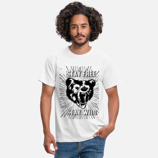 Cool T-Shirts - Stay Free Stay Wild - Men's T-Shirt white