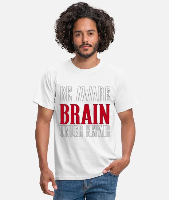 Concussion Awareness T-Shirts - Be Aware, Brain Under Repair Concussion Awareness - Men's T-Shirt white