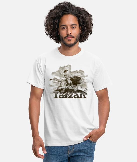 Friendship T-Shirts - Tarzan and a wild lion - Men's T-Shirt white