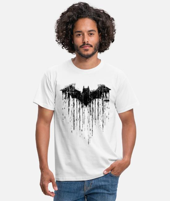 Super Heroes T-Shirts - DC Comics Batman Fledermaus Used Look - Männer T-Shirt Weiß