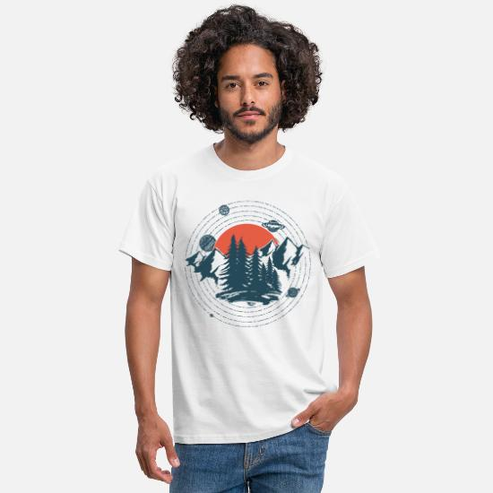 Mountains T-Shirts - Planets And Mountains Graphic - Men's T-Shirt white