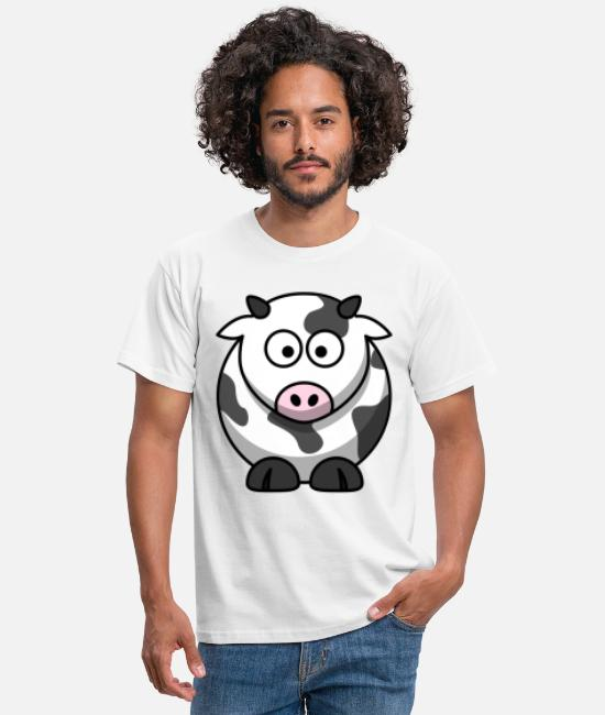 Crop T-Shirts - Funny TShirt with cute cow motif comic style - Men's T-Shirt white
