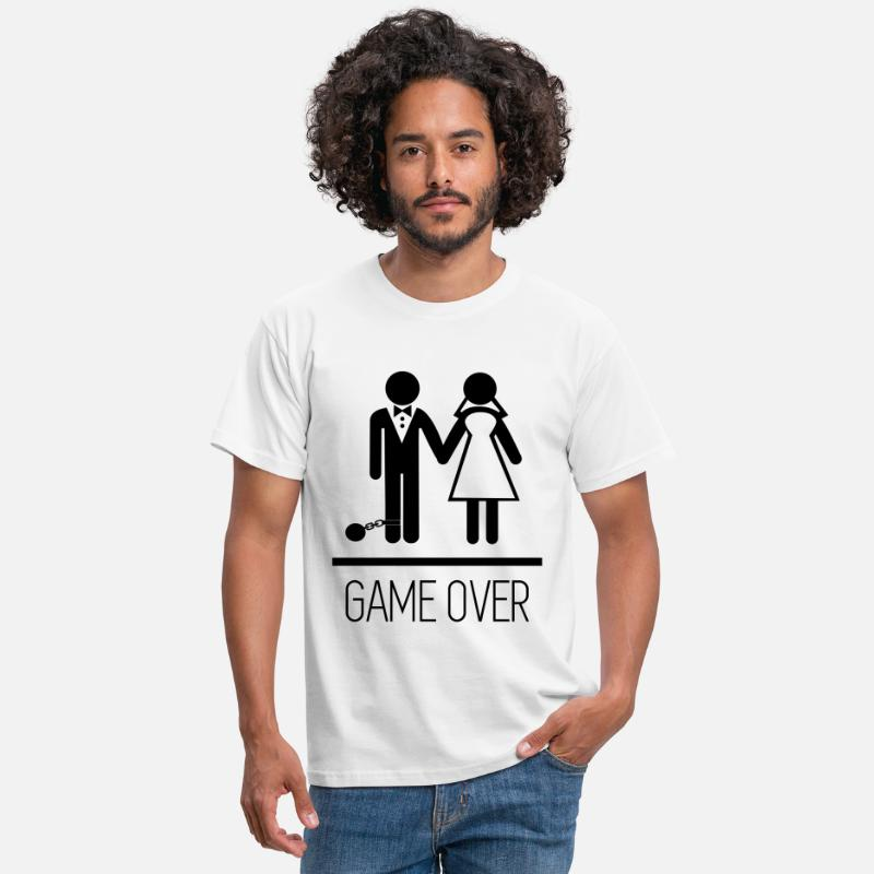 Game Camisetas - Parejas - Game over  - Camiseta hombre blanco