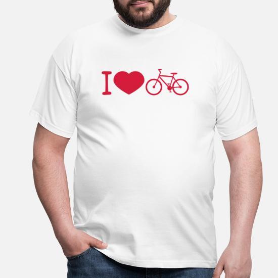 04707eea20396e Miłość Koszulki - rower Kocham serce kocham jeździć na rowerze Drahtesel ge  - Koszulka męska biały