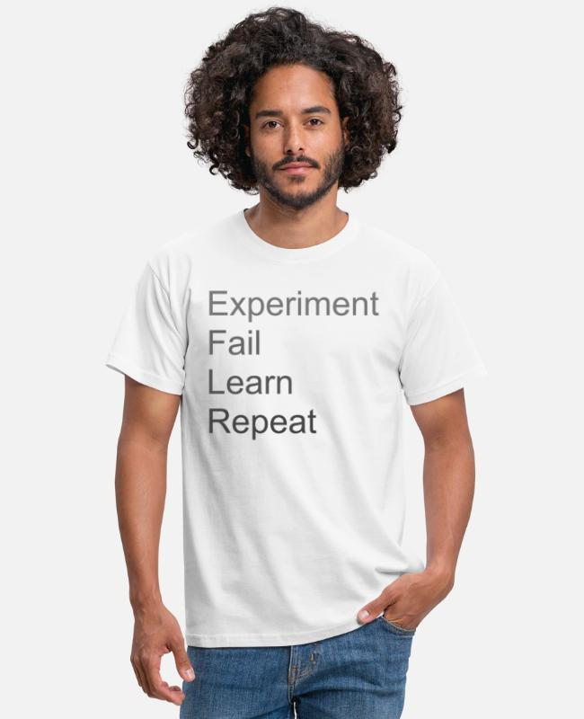 Experiment T-shirts - Experiment Fail Learn Repeat - T-shirt mænd hvid