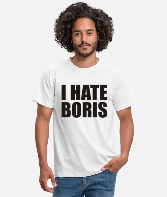 Black Metal T-Shirts - i hate boris black - Men's T-Shirt white