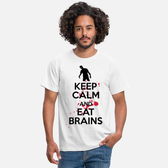 Halloween T-Shirts - Keep calm and eat brains - Men's T-Shirt white