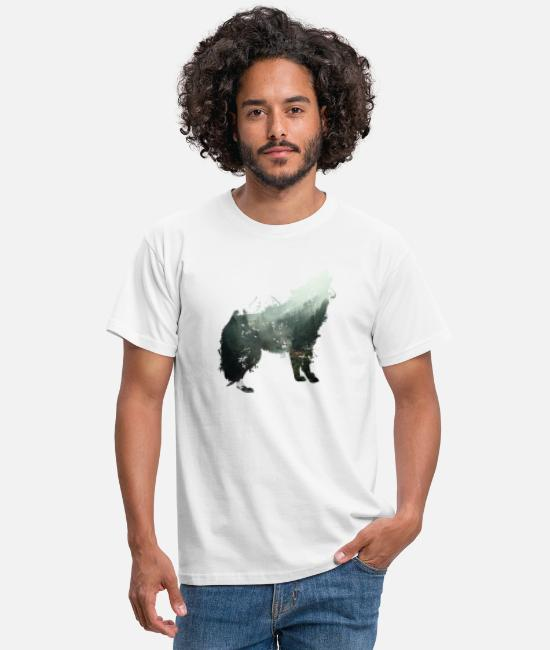 Hipster T-Shirts - The wolf is the forest - Men's T-Shirt white