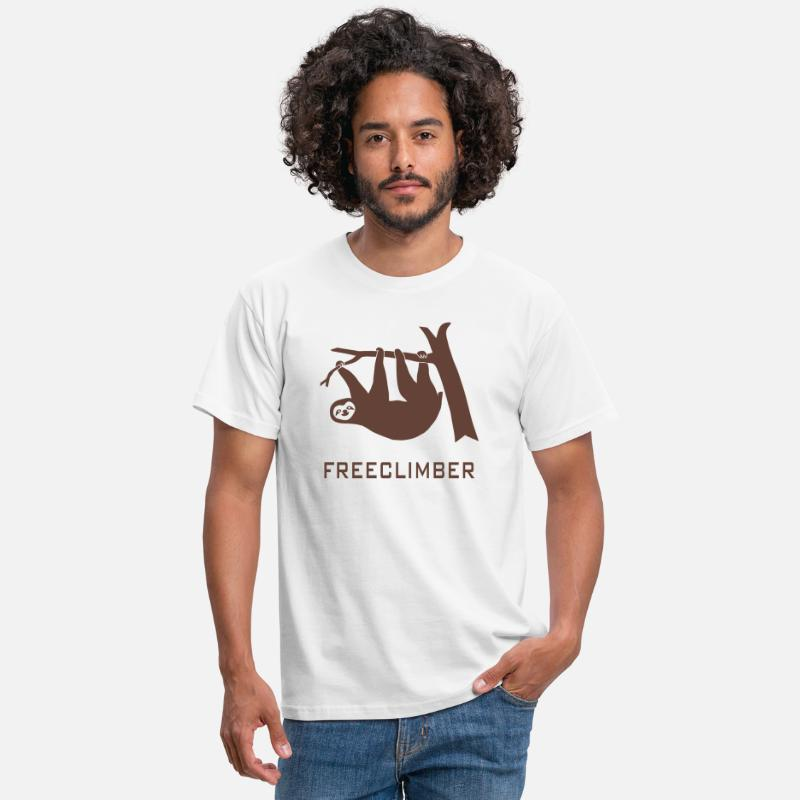 Climbing T-Shirts - freeclimber climbing freeclimbing boulder rock mountain mountains hiking rocks sloth climber - Men's T-Shirt white