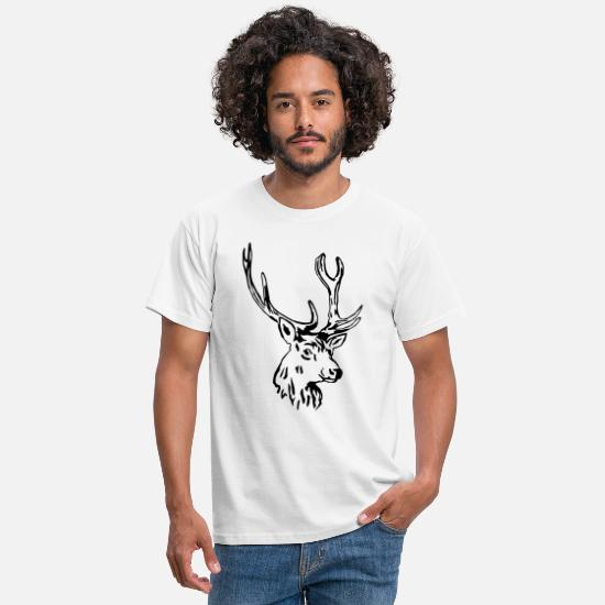 Antler T-Shirts - deer - antler - hunting - hunter - Men's T-Shirt white