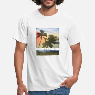 Crowd Maui Hawaii Palm Tree Sunset Souvenir - Men's T-Shirt