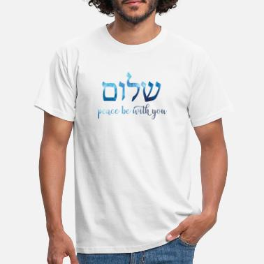 Blue watercolor Shalom - Peace be with you - Men's T-Shirt