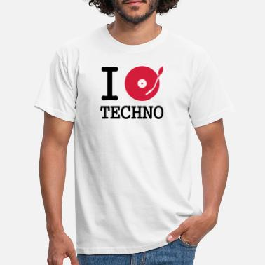 Klubb I dj / play / listen to techno - T-shirt herr