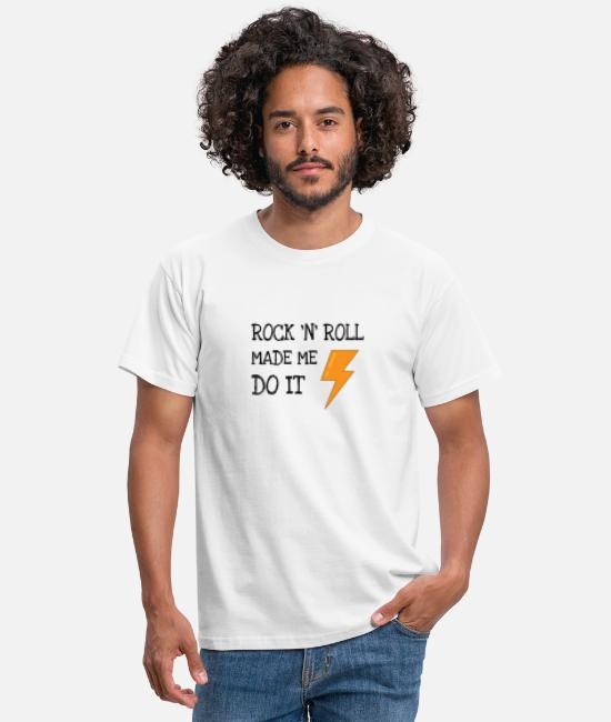 Rock Camisetas - ROCK 'N' ROLL MADE ME DO IT - Camiseta hombre blanco