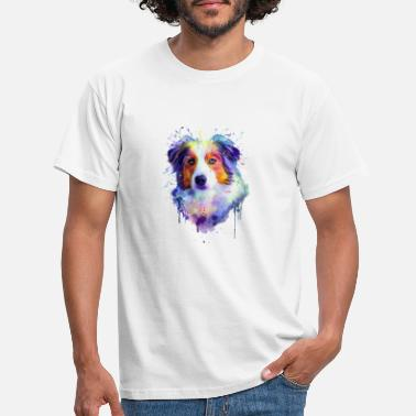 Australian Shepherd_Head Colored - Men's T-Shirt