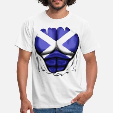 Scotland Scotland Flag Ripped Muscles, six pack, chest - Men's T-Shirt