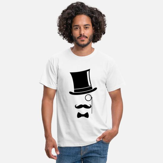 Chic T-Shirts - Funny - Top Hat Monocle - Men's T-Shirt white