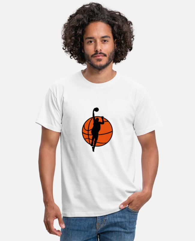 Muur T-shirts - Basketball & Basketball Player - Mannen T-shirt wit