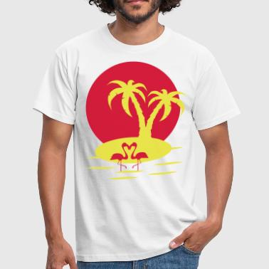 flamands rose palmier - T-shirt Homme
