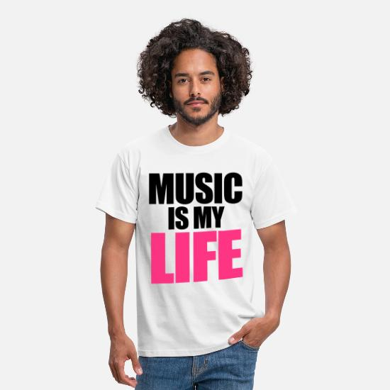 Dubstep T-skjorter - Music Is My Life - T-skjorte for menn hvit