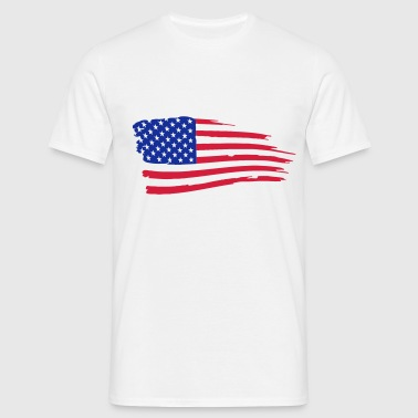 usa_flag_on_white - Mannen T-shirt