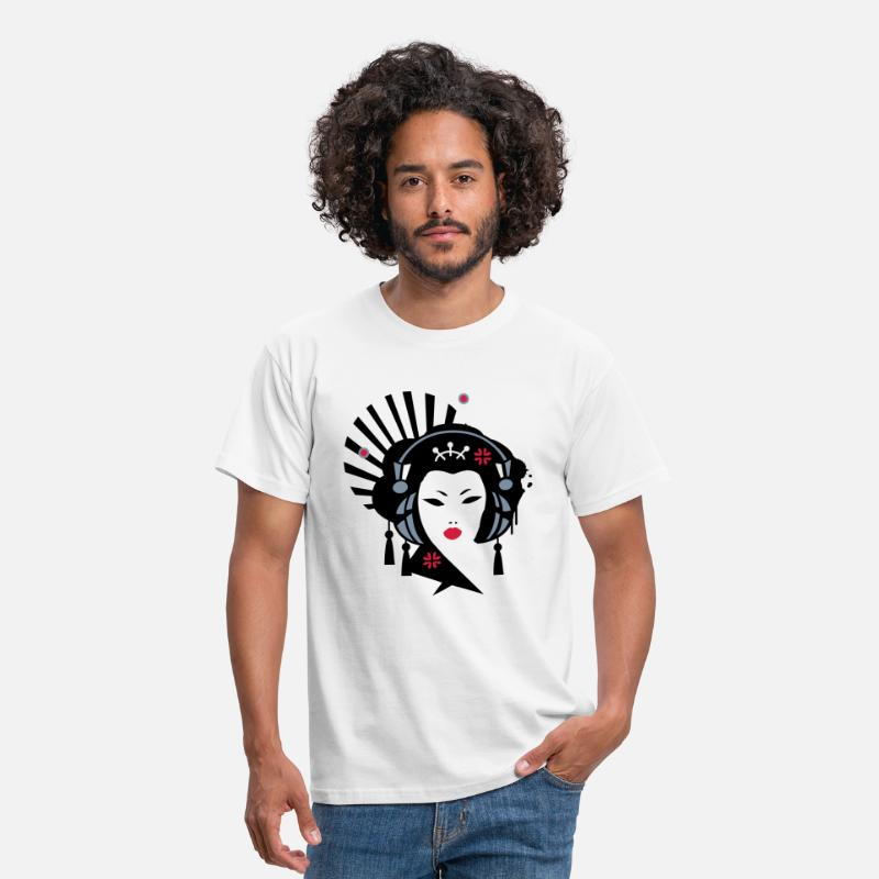 Geisha T-Shirts - Geisha with headphones - Men's T-Shirt white