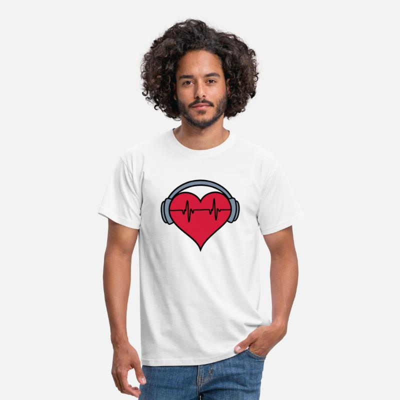 Health T-Shirts - Heartbeat Headphones 2 - Men's T-Shirt white