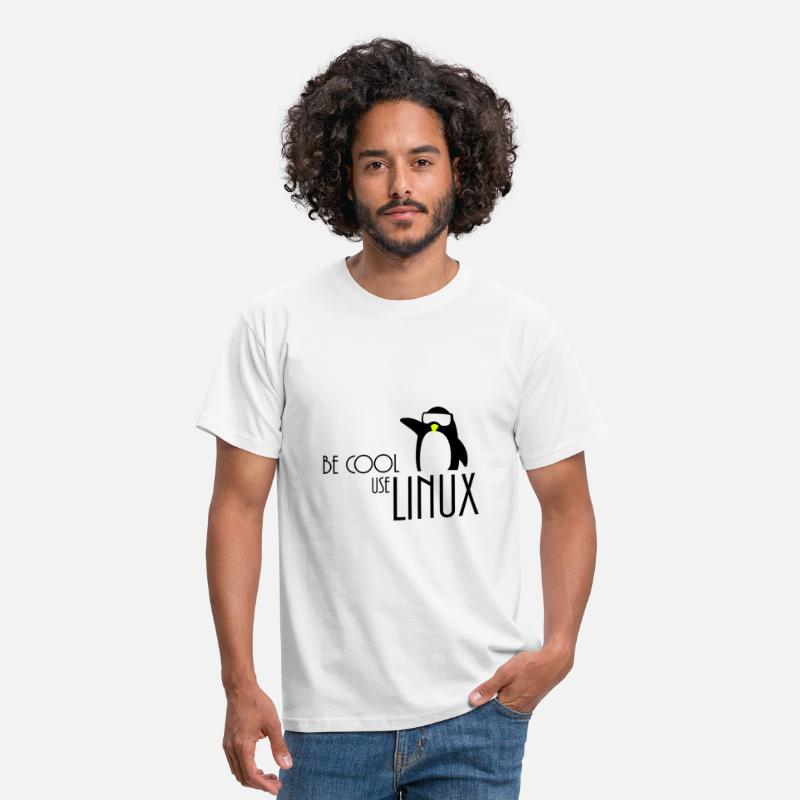 Linux T-Shirts - be cool use linux - Men's T-Shirt white