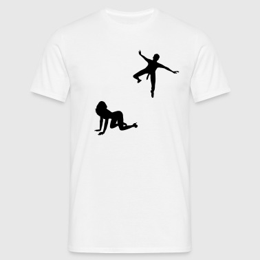 Woman waiting for parachutists  - Men's T-Shirt