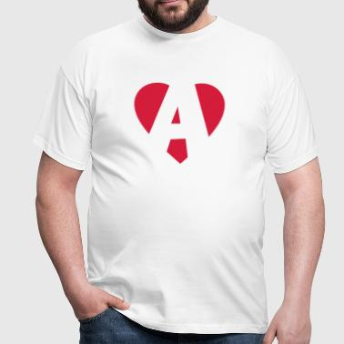Heart A - I love A - Herre-T-shirt