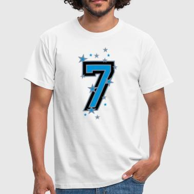 The number seven 7 with  stars  - Men's T-Shirt