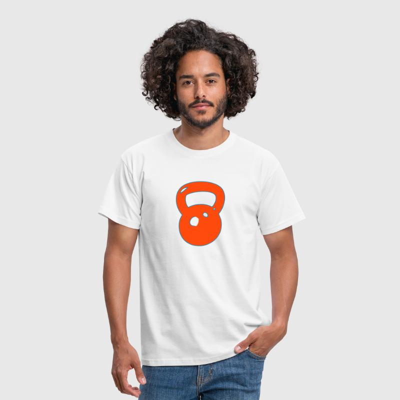 kettlebell with outline for cross fit - Men's T-Shirt