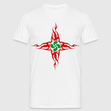 croix basque flaming 01 - Camiseta hombre
