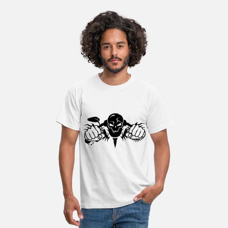 Motorcycle T-Shirts - Skull Motorcycle - Men's T-Shirt white