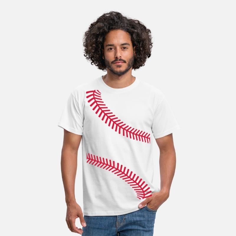Softball T-Shirts - Baseball seams - Men's T-Shirt white