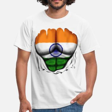India India Flag Ripped Muscles, six pack, chest t-shirt - Men's T-Shirt