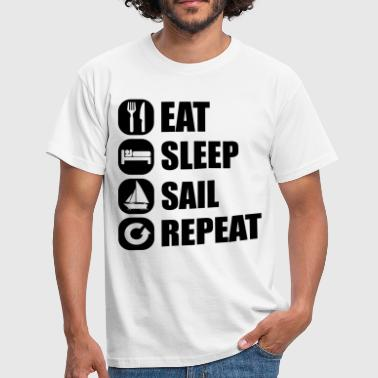 Sejlbåd eat_sleep_sail_repeat_12_1f - Herre-T-shirt
