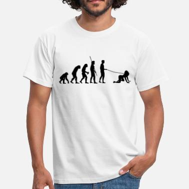 Doggystyle Woman Evolution man goes walkies  - Men's T-Shirt