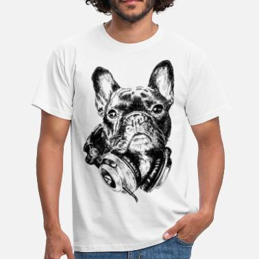 Fransk Bulldogg DJ Frenchie - T-shirt herr