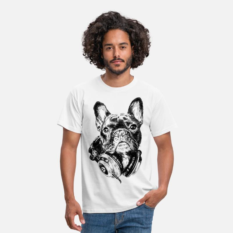 Bulldog Camisetas - DJ Frenchie - Camiseta hombre blanco