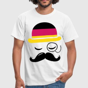 Germany nation fashionable retro iconic gentleman with flag and Moustache olympics sports football  - Miesten t-paita