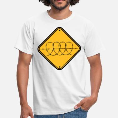 Spike zone shield caution note barbed wire secure - Men's T-Shirt