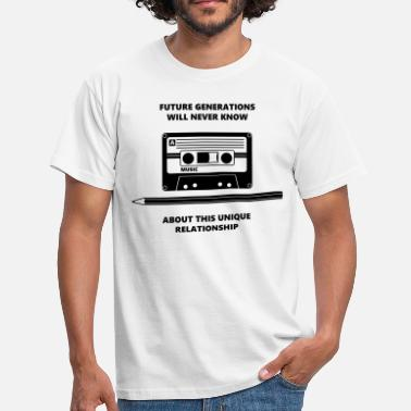 Muziek Audio Tape Stift Pencil Relationship - Mannen T-shirt