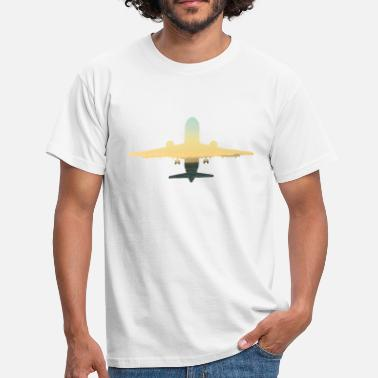 Take Off Plane Take off, sunset plane with panorama - Men's T-Shirt