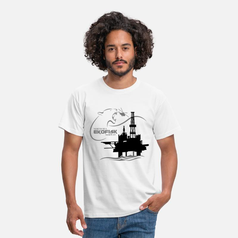 Oil Rig T-Shirts - Ekofisk Oil Rig Platform North Sea Norway - Men's T-Shirt white