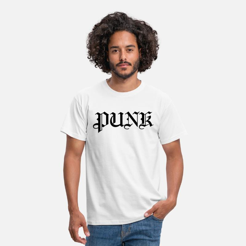 Grunge T-Shirts - Punk Old English Style Logo - Men's T-Shirt white